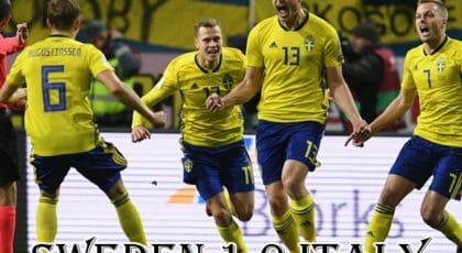"""ได้เฮก่อนนัดแรก! """"โยฮันส์สัน"""" ซัดประตูชัยให้สวีเดนเปิดบ้านเอาชนะอิตาลีไป 1-0"""