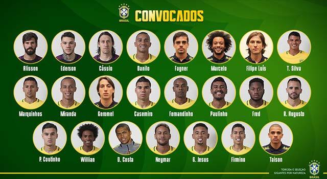 ทีมชาติบราซิล ประกาศ 23 รายชื่อ ลุยบอลโลก